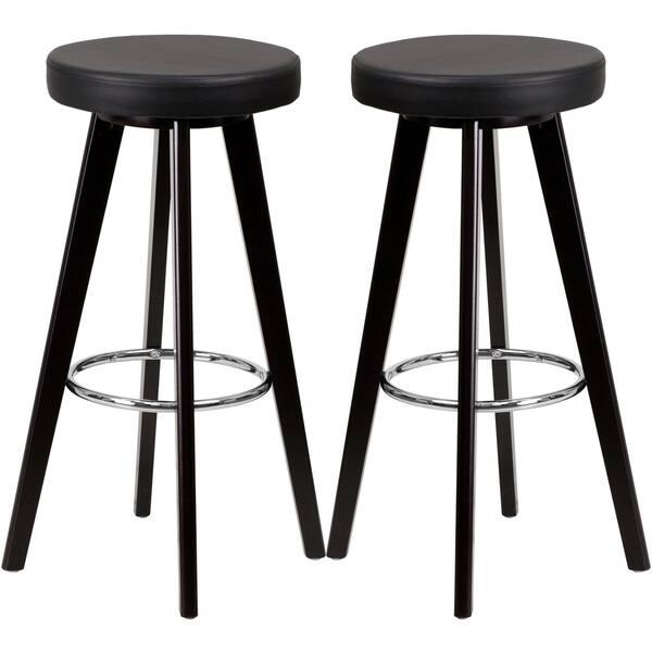 Remarkable Logan Backless Black Upholstered Bar Stools Creativecarmelina Interior Chair Design Creativecarmelinacom