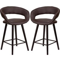 Sleek Brown Rounded Floating Back Design Counter Height Stool with Cappuccino Wood Base