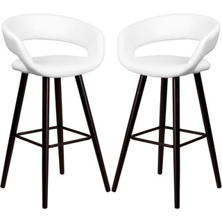 Sleek White Rounded Floating Back Design Bar Stool with Cappuccino Wood Base