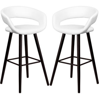 Link to Sleek White Rounded Floating Back Design Bar Stool with Cappuccino Wood Base Similar Items in Dining Room & Bar Furniture