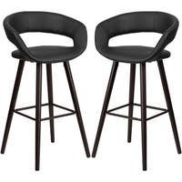 Sleek Black Rounded Floating Back Design Bar Stool with Cappuccino Wood Base