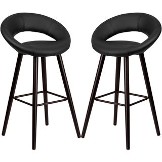 Modern Black Rounded Floating Back Design Barstool with Cappuccino Wood Base