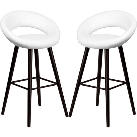 Modern White Rounded Floating Back Design Barstool with Cappuccino Wood Base