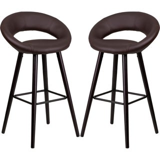 Modern Brown Rounded Floating Back Design Barstool with Cappuccino Wood Base