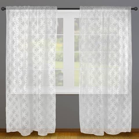 White Lattice Lace Curtain Panel Pair