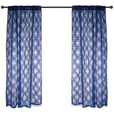 White Lattice Lace Curtain Panel Pair