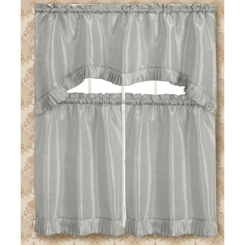 RT Designers Collection Bermuda Ruffle Kitchen Curtain Tier Set