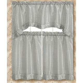 RT Designers Collection Bermuda Ruffle Kitchen Curtain Tier Set