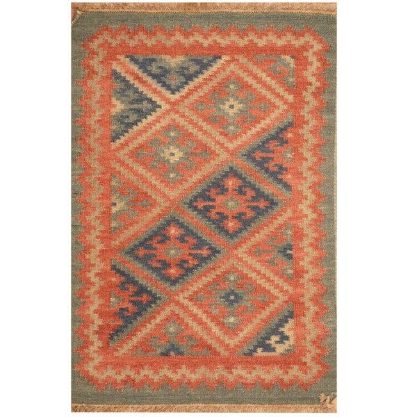 Herat Oriental Indo Hand-woven Kilim Wool Rug (2' x 3')