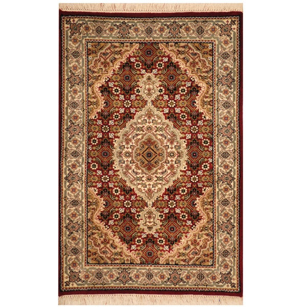 Indo Persian Tabriz Wool Area Rug: Shop Handmade Herat Oriental Indo Wool & Silk Tabriz Rug