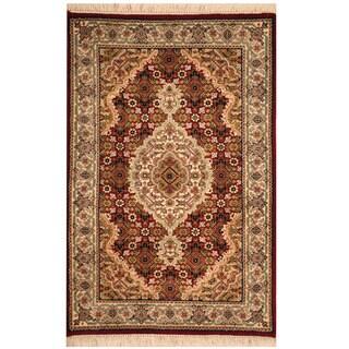 Herat Oriental Indo Hand-knotted Wool & Silk Tabriz Rug (2' x 3')