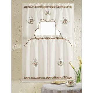 RT Designers Collection Grand Silver Embroidered Kitchen Curtain Tier Set