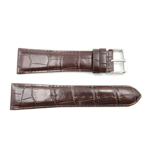 24mm Brown Genuine Leather Alligator Grain Long Watch Band