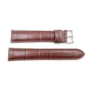 20mm Brown Genuine Leather Alligator Grain Long Watch Band