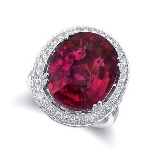 18k White Gold 10.71ct TGW Oval-cut Red Rubellite and White Diamond Halo Ring (G-H, VS2-SI1)