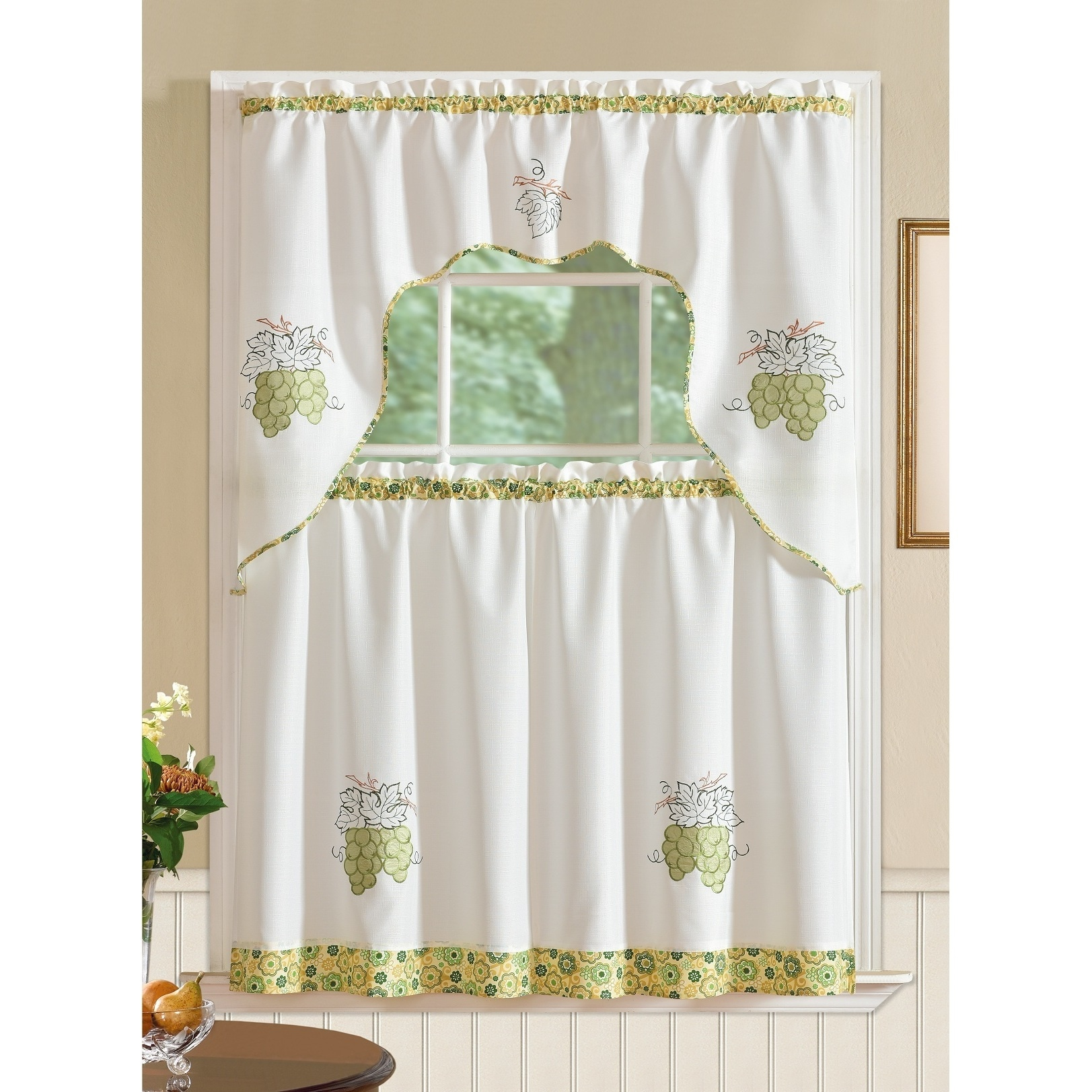 RT Designers Collection Grand Grapes Embroidered Curtain ...