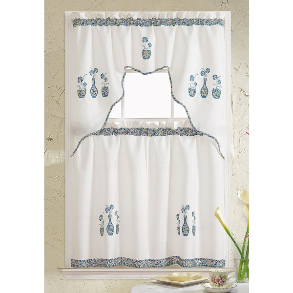 Shop Rt Designers Collection Grand Vase Embroidered Kitchen Curtain