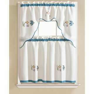 RT Designers Collection Grand Fish Embroidered Kitchen Curtain Tier Set