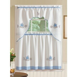 RT Designers Collection Grand Ocean Embroidered Curtain Tier Set