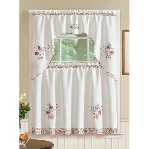 RT Designers Collection Grand Rose Embroidered Kitchen Curtain Tier Set