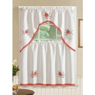 RT Designers Collection Regal Embroidered Tier and Valance Kitchen Curtain Tier Set