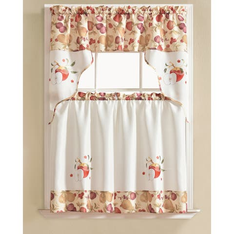 RT Designers Collection Urban Embroidered Tier and Valance Kitchen Curtain Tier Set