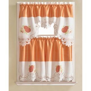RT Designers Collection Noble Embroidered Tier and Valance Kitchen Curtain Tier Set