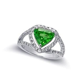 14k White Gold 3.6ct TGW Heart-Shaped Green Tsavorite and White Diamond Halo Ring (G-H, VS2-SI1)|https://ak1.ostkcdn.com/images/products/16959622/P23246300.jpg?impolicy=medium