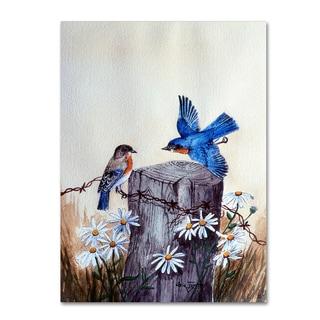 Arie Reinhardt Taylor 'Bluebirds With Daisies 3' Canvas Art