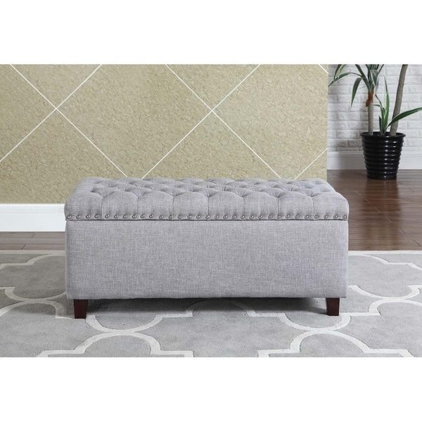 Button Tufted Storage Ottoman With Nailhead, Gray Color