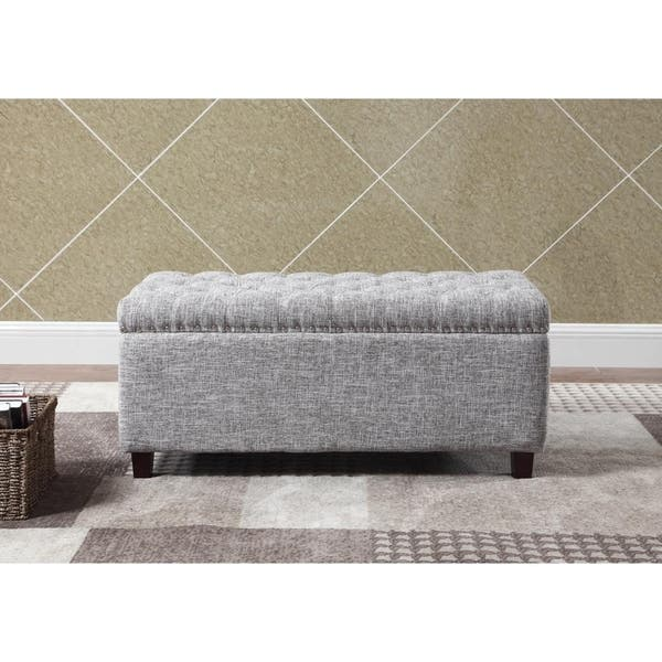 Superb Shop Button Tufted Storage Ottoman Bench With Nailhead Gray Gmtry Best Dining Table And Chair Ideas Images Gmtryco