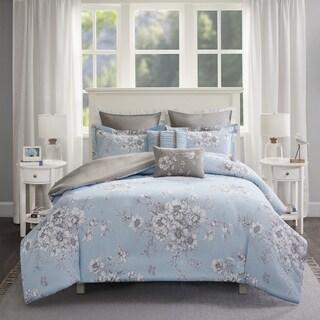 Madison Park Claire Blue 7-piece Cotton Percale Printed Duvet Cover Set