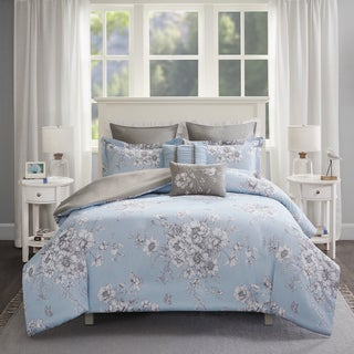 Madison Park Claire Blue 7-piece Cotton Percale Printed Duvet Cover Set