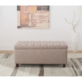 Button Tufted Storage Ottoman Bench with Nailhead, Taupe Color