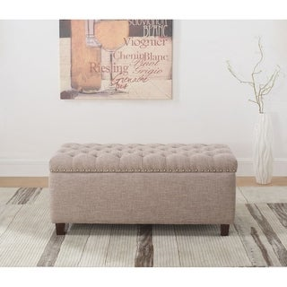 Button Tufted Storage Ottoman with Nailhead, Taupe Color