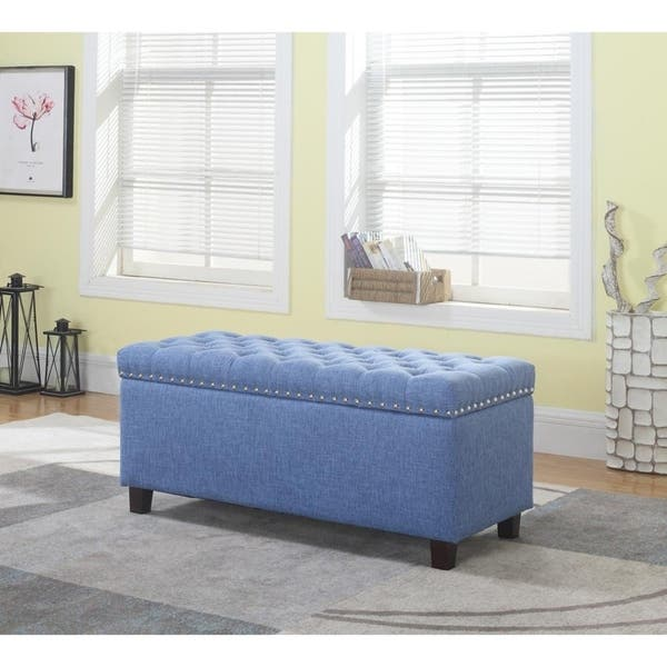 Awe Inspiring Shop Button Tufted Storage Ottoman Bench With Nailhead Blue Creativecarmelina Interior Chair Design Creativecarmelinacom