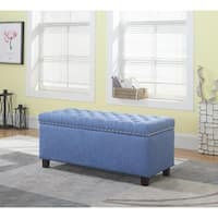 Button Tufted Storage Ottoman with Nailhead, Blue Color