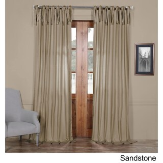 Exclusive Fabrics Solid Cotton Tie-Top Curtain (More options available)