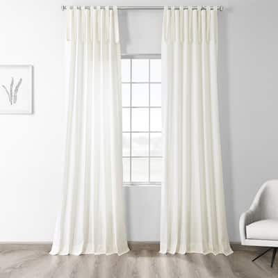 Exclusive Fabrics Solid Cotton Tie-Top Single Curtain Panel