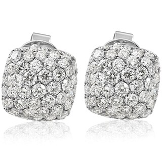 18k White Gold 1.75CT Pave Cushion Hape Round Diamond Studs Earrings (E-F, VS1-VS2)