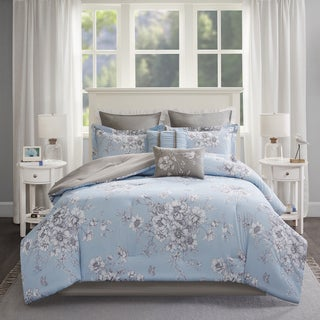 Madison Park Claire Blue 8-piece Cotton Percale Printed Overfilled Comforter Set