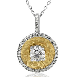 "18K Yellow Gold Hammered .59ct TDW Diamond Circle Disc Pendant 18"" Chain (H-I, SI1-SI2)"