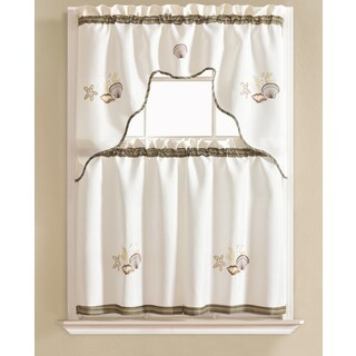 RT Designers Collection Grand Shell Embroidered Kitchen Curtain Tier Set