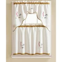 RT Designers Collection Grand Seahorse Embroidered Kitchen Curtain Tier Set