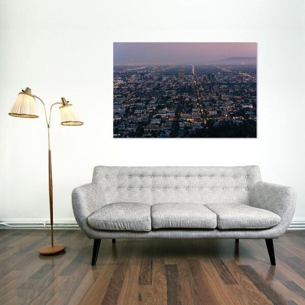Noir Gallery View Of Los Angeles California At Night Photo Print On Metal