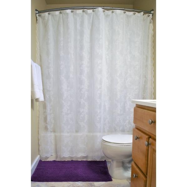 White Flower Blossom Shower Curtain