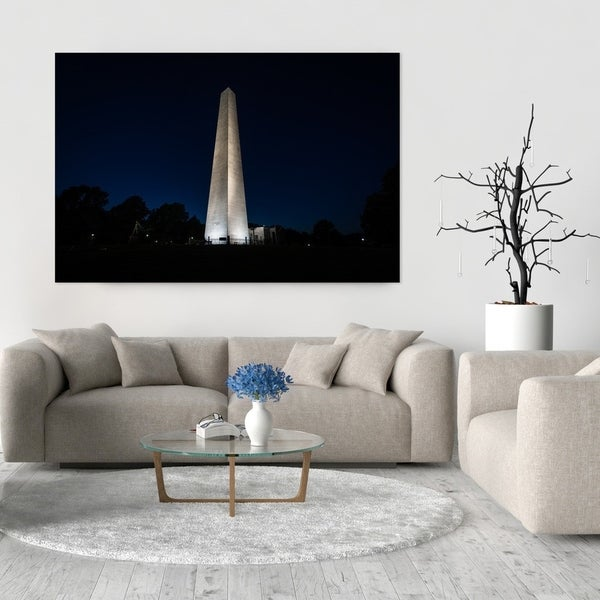 Noir Gallery Bunker Hill Monument at Night in Boston Photo Print on Metal.