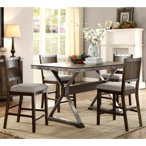 Wine Barrel Industrial Design Counter Height Dining Set