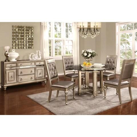 Glamorous Design Metallic Platinum Dining Set with Glass Top and Buffet Server