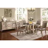 Glamorous Design Metallic Platinum Dinning Set with Glass Top and Buffet Server